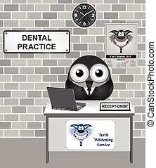 Dental Practice - Comical bird receptionist at a Dental...