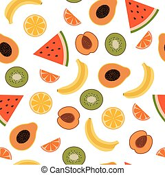 Tropical Fruits Seamless Pattern