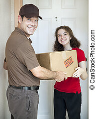 Delivery Man and Satisfied Customer - Handsome delivery man...