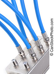 Coaxial cables with tv splitter