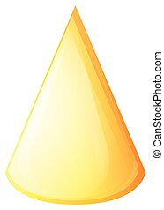 Yellow cone on white illustration
