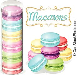 Macaron in plastic container illustration