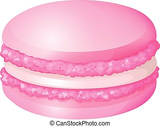 Pink macaron with cream illustration