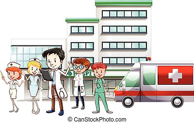 Doctors and nurse working at hospital