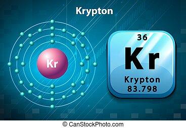 Krypton symbol and electron diagram krypton illustration