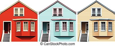 Wooden houses in different colors