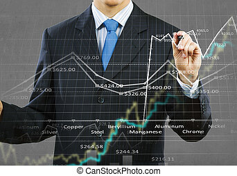 Growing graph - Businessman hand drawing business graphs on...