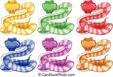 Different colors of snake illustration
