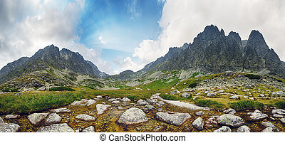 Spring in mountain - panorama with peaks, Slovakia Tatras