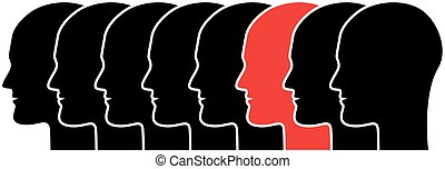 individuality - series of black human silhouettes in profile...