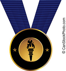 Olympic Torch Medal isolated on a white background