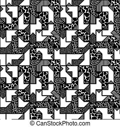 abstract black and white geometric pattern in style of the...