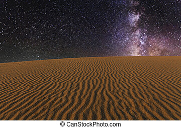 Amazing views of the Gobi desert under the night starry sky...