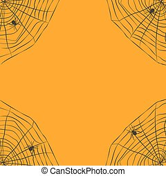 Halloween orange background with spider web