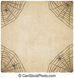 Halloween vintage background with spider web