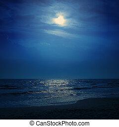 azul, luz, encima, cielo, luna, Oscuridad, mar