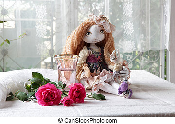 Doll, roses, scissors and a vase with water - Beautiful...