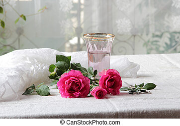 Roses, scissors and a vase with water - Pink roses, scissors...