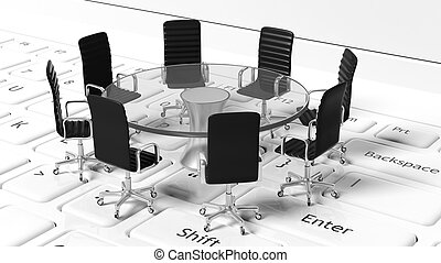 Round table with black leather chairs around it - Idea of...