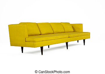 Modern Design Sofa - Modern Style Yellow Upholstered Couch...