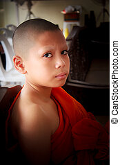 Novice in Thailand, young monk. - novice in thailand, young...