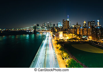 View of FDR Drive and the East River at night, from the...