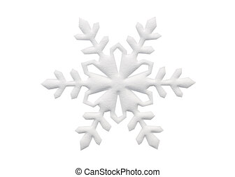 Snowflake - Paper cutout snowflake on white