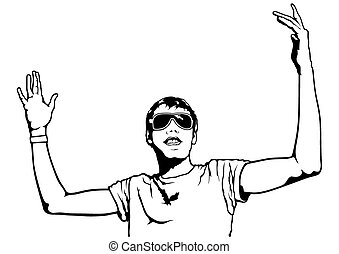Young Man with Raised Hands Up - Illustration, Vector