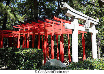 torii gates at shinto shrine in Japan