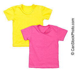 two blank tshirts on a white background.