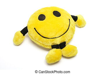 Smiley Soft Toy on White Background