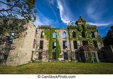 Ruinas, de, el, viruela, hospital, en, Roosevelt, isla, en,...