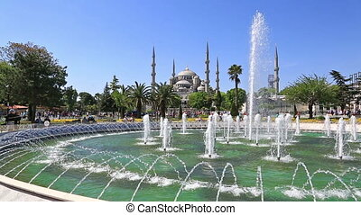Playing fountain at Sultanahmet Square, Instanbul - Scenic...