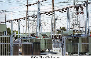 Electrical substation - detail of a electrical substation in...