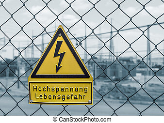 high voltage warning sign - yellow german high voltage...