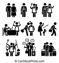 Happy Husband and Wife Busy - Human pictogram stick figures...