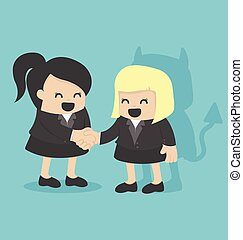 Illustration Cartoons concepts Businesswoman shaking hand...