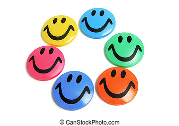 Smiley Fridge Magnets on White Background
