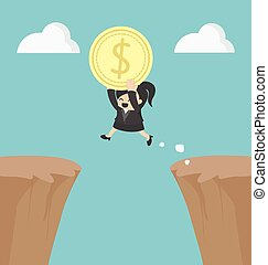 Business Woman holding money jumping over the cliff