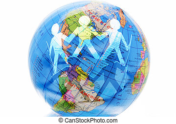 Paper Dolls and Globe - Composite of Paper Dolls and Globe