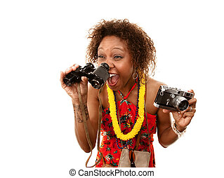 Funny African-American Tourist with Binoculars and Camera