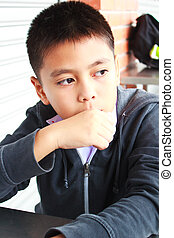 Young boy thinking. - young boy thinking, thailand.