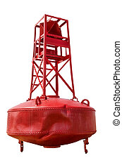 Navigational buoy - Red navigational buoy isolated on white...