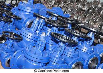 Industrial background from part of valves for power, oil or...