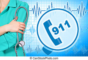 woman doctor and 911 symbol on blue  background
