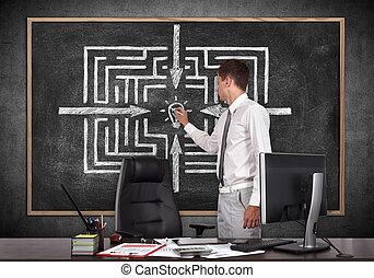 labirinto, homem negócios, desenho