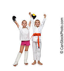 two happy girl - two happy karate and muay thai boxing kid