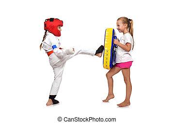 karate,  fulfills, niña, él, patadas
