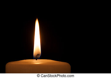 Burning candle in the dark with copy space - Burning candle...