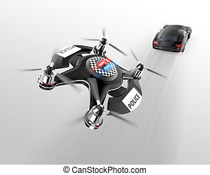 Police drone chasing black car for speed over.